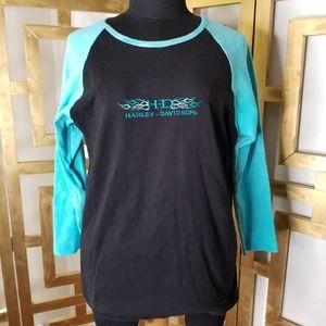 Harley Davidson Black Blue Baseball Tee Shirt Top